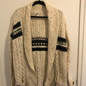 Long thick knit cardigan